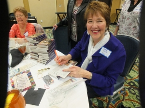 The lovely Debby Guisti signing copies of her March Love Inspired Suspense release, The Agent's Secret Past.